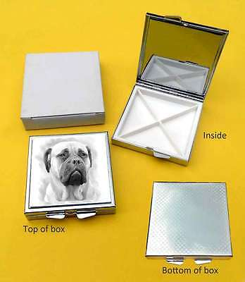 Bullmastiff Dog Polished Metal Square Pill Box with 4 compartments Gift