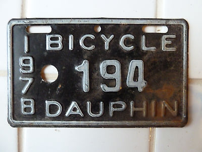 1978 DAUPHIN Bicycle License Plate #194