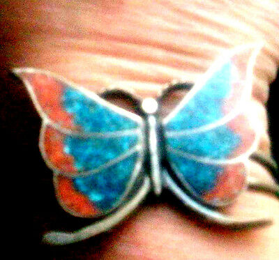 Vintage Sterling Turquoise & Coral Butterfly Cuff Bracelet