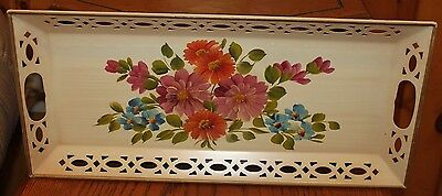 Vintage Nash Co. Tole Tray Rectangular Handpainted Floral