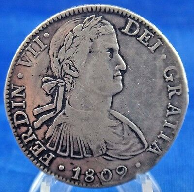 1809 Mexico MU TH 8 R Reales Silver Coin