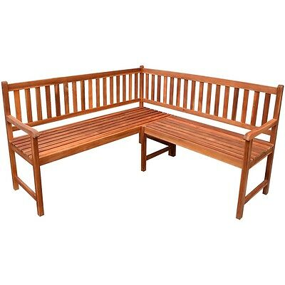 Garden Patio Corner Bench Seating Outdoor Furniture Acacia Wood with Oil Finish