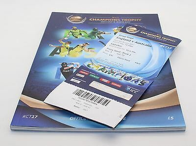 ICC CHAMPIONS TROPHY 2017 EDGBASTON CRICKET Programme and two tickets VGC
