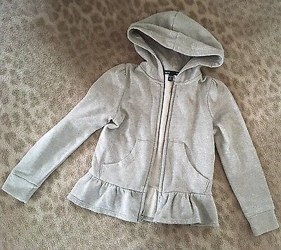 Girls Gap Age 4-5 Silver Peplum Hooded Top XS