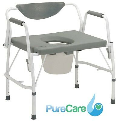 Drive Drop-Arm Commode Bedside Heavy-Duty Extra Wide Elevated Toilet Seat Aid