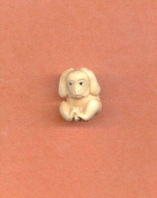 Monkey Holding Ears   Hand Carved  Japanese Ojime Bead  Miniature Figurine 873