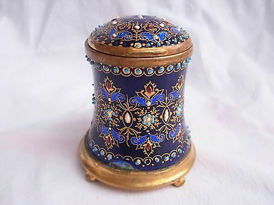 ANTIQUE FRENCH ENAMELED  BRASS  INKWELL,LATE 19th CENTURY.