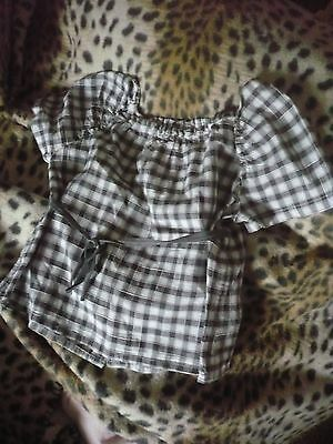 Bonpoint Black /white Gingham Check Short Sleeved Blouse Age 3 Years