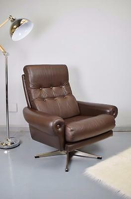 Danish Mid Century Retro Vintage Brown Leather Swivel Lounge Arm Chair 1970s