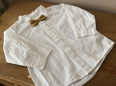 Boys H&M White Collarless Shirt With Gold Bow Tie Age 9-12 Months BNWT