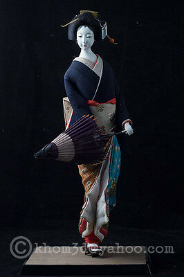 "Vtg Japanese Geisha Doll 17"" w/ umbrella"
