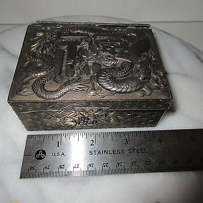 Asian Japanese Chinese Antique Metal Pewter Silk Lined Box Dragon Symbols