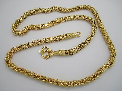Fancy 22K Yellow Gold Plated Byzantine Necklace 25 inches Long Ref:(405C)