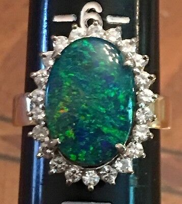 Awesome Vintage 14k Solid Gold Black Opal Doublet Diamond Ring 7.20 Grams