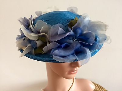 Vintage 50s Hat Blue Sisal Straw Silk & Glass Flowers Rare 1950s Phyllis USA