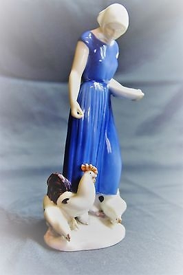 Wonderful Bing & Grondahl Figure of a Girl With Chickens.