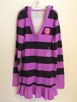 New Justice Girls Hoodie Pullover Size 16 Purple And Black Stripes Long Sleeve