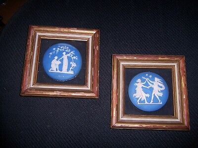 Vintage Wedgwood Cameo Plaques Blue Jasper pair 5 1/2 inch square franes