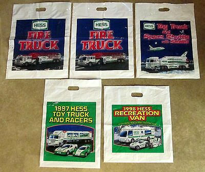 Five Hess Truck Original Plastic Sales Bags