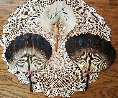 3 Vintage Feather Hand Held Fans White Decorated & Iridescent Black
