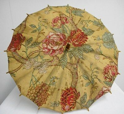 "antique parasol embroidered cotton over floral pattern wooden handle 23""L 28""D"