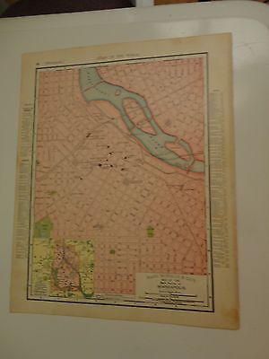 Colored Map of Minneapolis, 1895 - Rand, McNally & Co.'s Atlas of the World