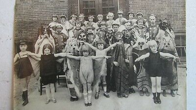 Strange Large Vintage Photograph Children In Costumes Group Portrait 1930s Play