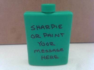 Green Plastic Flasks  -  2 Pack  -  Customizable  -  Free Shipping