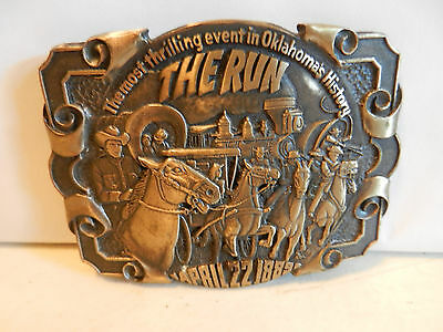 "Vintage 1980s ""The Run April 22 1889"" Oklahoma Solid Brass Belt Buckle"