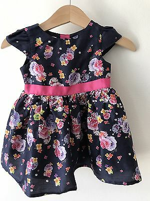 Ted Baker Baby 3-6 Months Navy Floral Flower Dress Summer Party Wedding