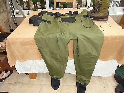 Wychwood stocking foot waders xxl with wychwood wading boots 9-10 all good