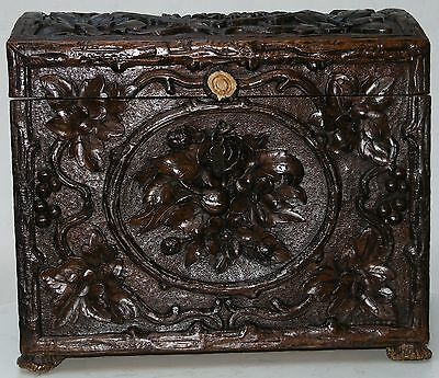 Antique Black Forest Great Carved Wood Trunk