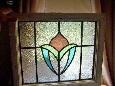 OLD ENGLISH LEADED STAINED GLASS WINDOW textured 17 by 20 orig frame nice