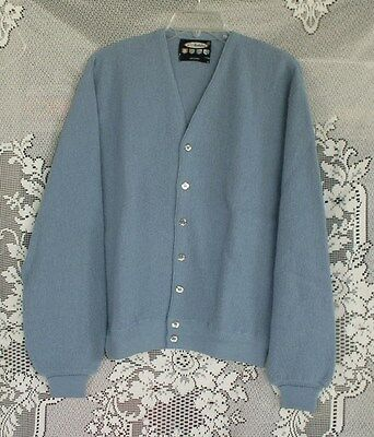 Vintage Manhattan Men's Alpaca Cardigan Sweater - Size XL - New Old Stock - Blue