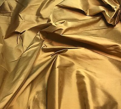 "Silk Taffeta Fabric Orange Taupe 18/""x27/"" fat 1//4 remnant"
