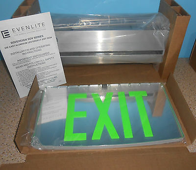 New Evenlite Sovereign Edgelit Led Exit Sign Green Light Recessed Ceiling Mount