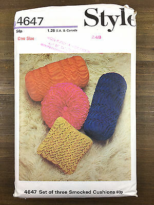 Set of 3 Smocked Pillows Vintage Style Sewing Pattern 4647 Uncut