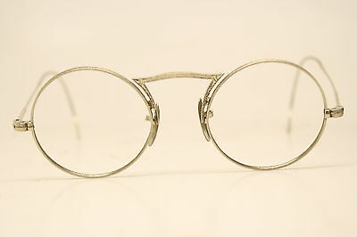 Vintage Silver Tone Antique Eyeglasses With Solid 10K pads