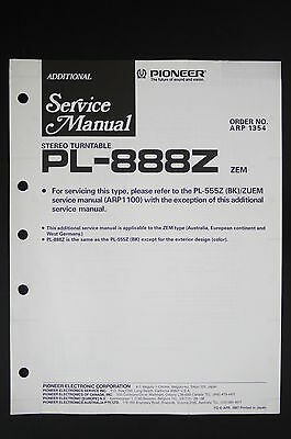 Pioneer pl-888z original stereo turntable Additional Service Manual/Diagram O117