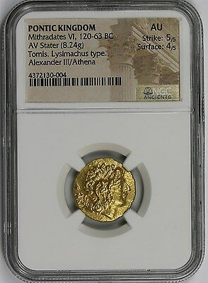 Gold Ancient Pontic Kingdom Mithradates VI, 120-63 BC AV State (8.24g) AU NGC
