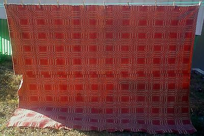 Antique 2 Panel Overshot 2 Color Coverlet 73 x 99 Jacquard Red Wool Cotton