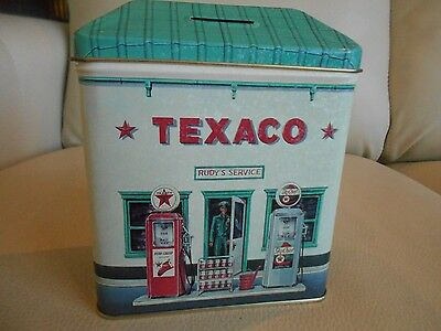 TEXACO Miniature Tin Gas Station, STILL COIN BANK, EUC, Great Graphics, Colors!