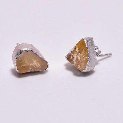 925 Sterling Silver Stud Earrings, Raw Citrine Handcrafted Women Jewelry RSSE27