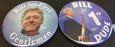 """Donated 3"""" Bill Clinton Political Pinback Buttons for Charity"""