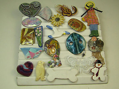 Handmade Costume Jewelry Pin Brooch Lot Crafts Copper Enamel Cermaic AS IS