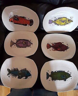 Rare Set 6 X Vintage Retro Washington Pottery Aquarius Fish Series  Plates