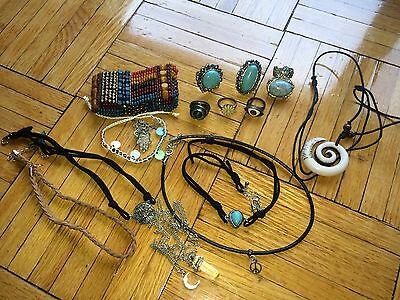 Women's lot of rings bracelets and necklaces