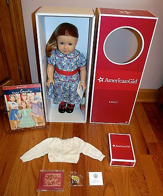 "American Girl Emily 18"" Doll, Book & Accessories *brand New In Box* Retired"