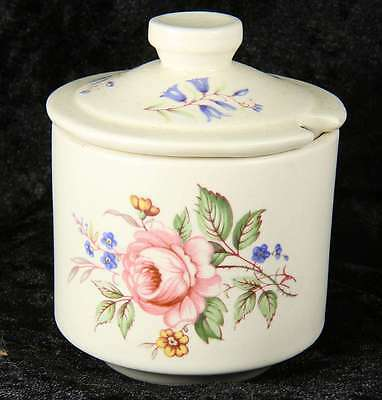 Axe Valley pottery lidded preserve pot with floral flowers 2 inches spoon hole