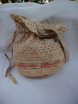 French Vintage Boudoir Fabric Quilted  Boudoir Pouch c1900